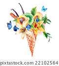 Summer watercolor greeting card with a fruity 22102564