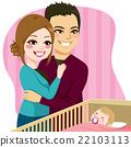 Couple Watching Baby Sleeping 22103113