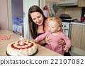 Mother holding her baby daughter with birthday 22107082