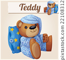 Teddy bear in pajamas with pillow 22108312