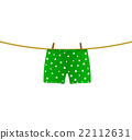 Boxer shorts with white hearts hanging on rope 22112631