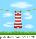 Striped retro swimsuit hanging on rope on blue sky 22112791