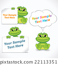 Funny Cartoon Dragon or Frog with Blank Banners 22113351