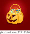 Halloween Pumpkin Bucket with Candy. Vector 22113386