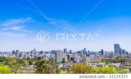 Sendai city view from the castle ruins of Sendai 22115353
