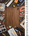 school supplies and notebook on wood 22116369