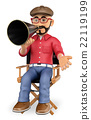 3D Film director sitting in chair with a megaphone 22119199
