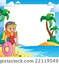 Beach theme frame with girl swimmer 22119549