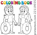 Coloring book boy and girl swimmers 22119555