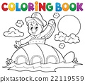 Coloring book submarine with sailor 22119559