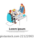 Two Business Man Work Laptop Desk Workspace Copy 22122063