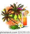 Summer background with palm trees and juice 22125115