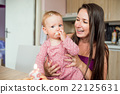 Mother holding her baby daughter eating birthday 22125631