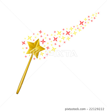 Magic wand with coloured stars on white background 22129222