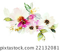 Print for T-shirt with watercolor flowers 22132081