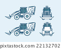 loader front, side, back view in line style 22132702