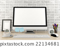 Isolated computer display for mock up in office  22134681