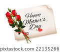 Happy Mother's Day note with red roses.  22135266
