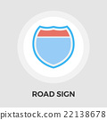 Road sign flat icon 22138678