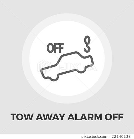 Tow away alarm off icon flat 22140138