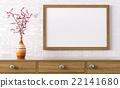 Blank wooden frame above dresser 3d rendering 22141680