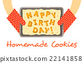 Happy birthday cookies on a pan in hands 22141858