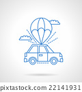 Parachute with car flat line vector icon 22141931