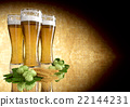 three glasses of beer with barley and hops - 3D 22144231