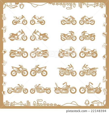 摩托車(平面設計)米色 22148394