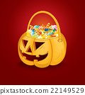 Halloween Pumpkin Bucket with Candy. Vector 22149529