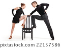 professional artists dancing with chair over white 22157586