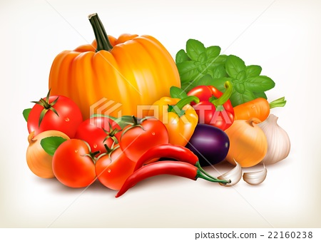 Fresh vegetables isolated on white background.  22160238