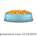 Pet food in blue bowl on white background 22164644