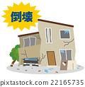 지진 재해 무너진 주택 22165735