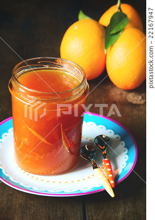 Close up on Glass Jar of Orange Jam, Marmalade and 22167947