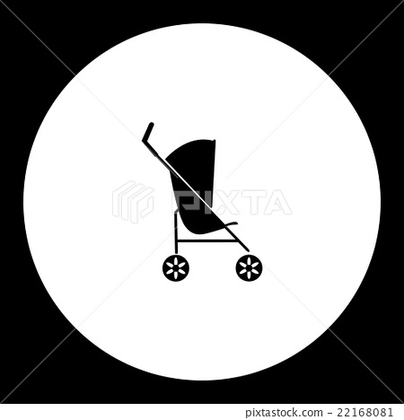 simple black sport stroller for baby cradle icon 22168081