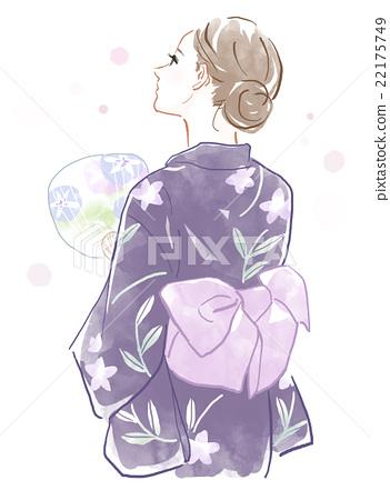 浴衣圖的一名婦女 22175749