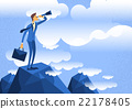 Cartoon Businessman Looking Through Telescope 22178405