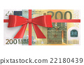 Wad of 200 Euro banknotes with red bow 22180439