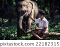 Student little asian boy with him elephant 22182315