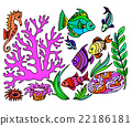 Hand draw set of different marina creatures 22186181