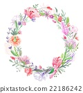 Romantic Floral Wreath Frame 22186242