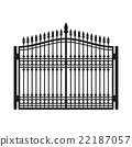 Fence Wrought Iron Gate. Old Style Door. Vector 22187057