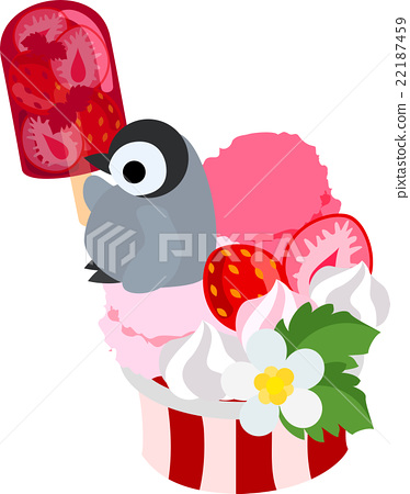 Penguin's baby eating strawberry ice on a huge strawberry ice cream 22187459