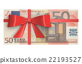 Wad of 50 Euro banknotes with red bow 22193527