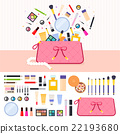 Make up bag full of cosmetics 22193680