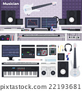 Musician workspace with musical instruments 22193681