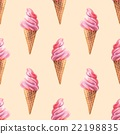 Ice cream. Watercolor background. Seamless pattern 22198835