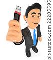 3D Businessman with a pen drive. USB stick 22205595