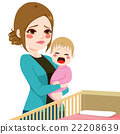 Sleepy Mother Consoling Baby Crying 22208639